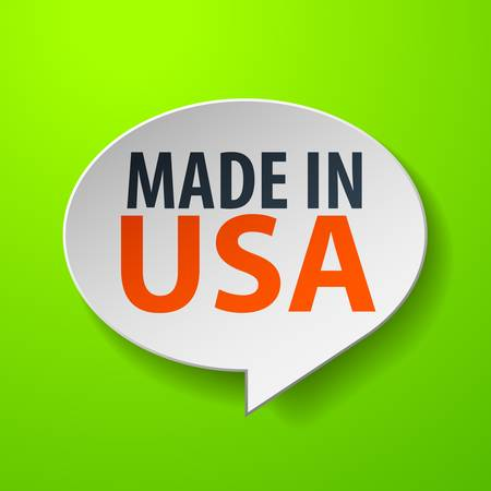 Made In USA 3d Speech Bubble on green background Vector