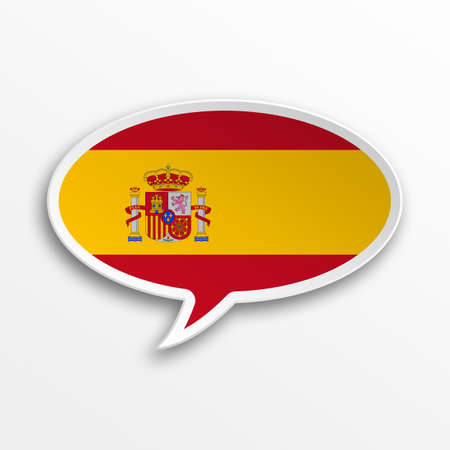 foreign country: Spain 3d speech Bubble Stock Photo