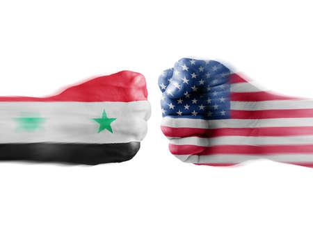 USA x Syria on white background photo