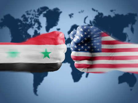 USA x Syria on World Map background photo