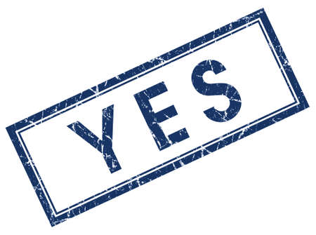 yes you can: yes blue square stamp