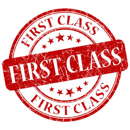 First Class Red grunge stamp photo