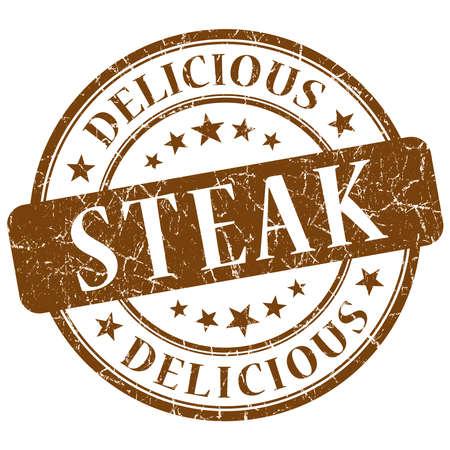 Steak brown grunge stamp Stock Photo