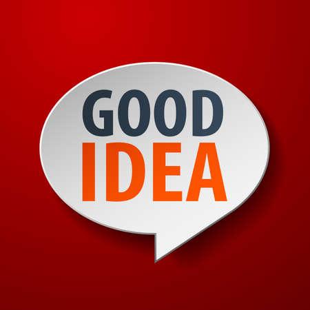 goed idee: Goed idee 3d tekstballon op rode achtergrond