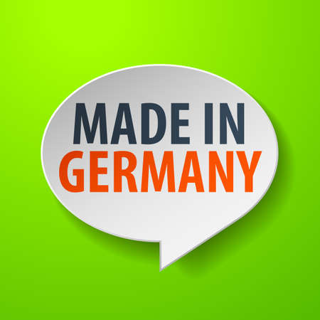 Made in Germany 3d Speech Bubble on green background Vector