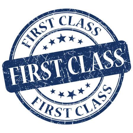 first class blue grunge stamp photo