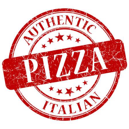 피자 빨간색 그런 스탬프