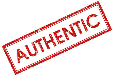 authenticity: authentic red square stamp Stock Photo