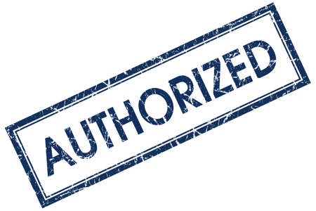 authorized blue square stamp Stock Photo