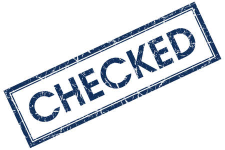 checked blue square stamp Stock Photo - 21904416