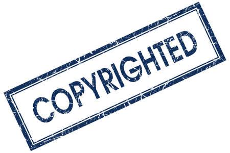 plagiarism: copyrighted blue square stamp