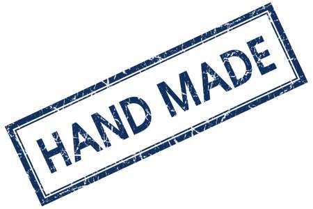 hand made: hand made blue square stamp