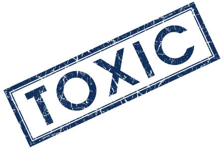 toxicology: toxic blue square stamp