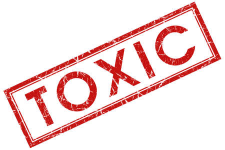toxicology: toxic red square stamp