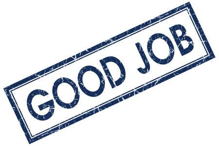 good job: good job blue square stamp