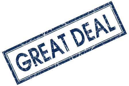 great deal: great deal blue square stamp