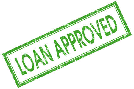 loan approved green square stamp Stock Photo - 21904679