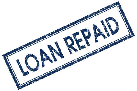 loan repaid blue square stamp Stock Photo - 21904680