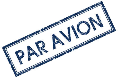 avion: par avion blue square stamp