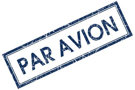 par avion: par avion blue square stamp