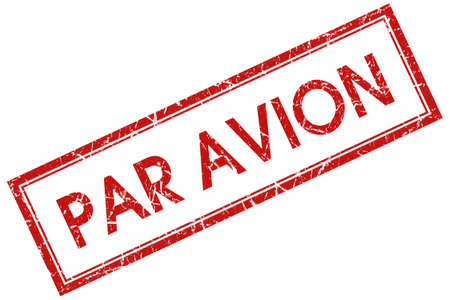 avion: par avion red square stamp