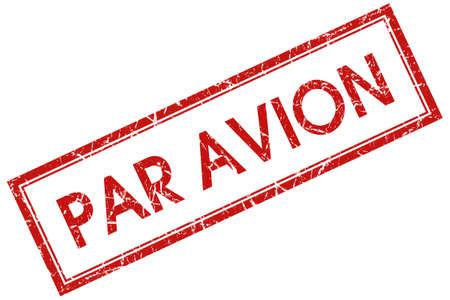 par avion: par avion red square stamp