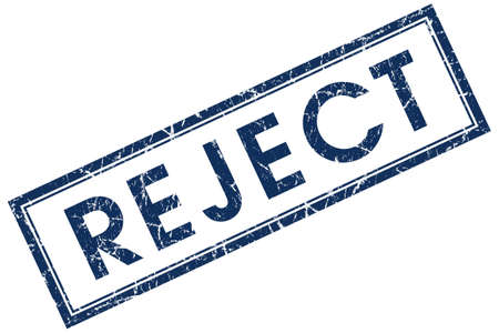 reject: reject blue square stamp