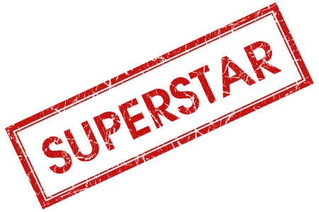 superstar: superstar red square stamp Stock Photo