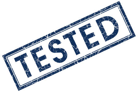 tested: tested blue square stamp
