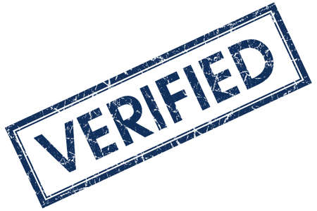 verified: verified blue square  stamp Stock Photo