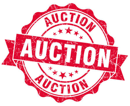 auction grunge red stamp Stock Photo