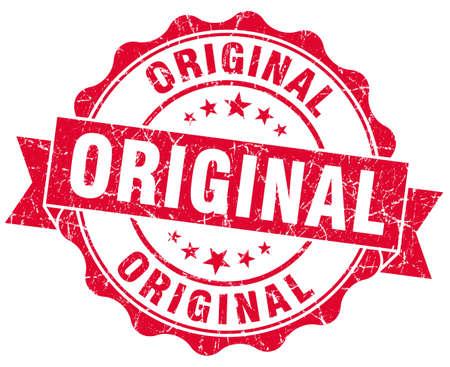 certificated: original grunge red stamp Stock Photo