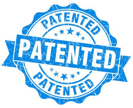 patented grunge blue stamp