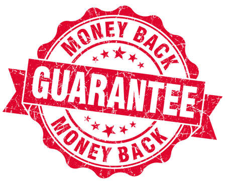 money back guarantee grunge red stamp photo