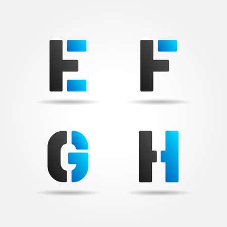 letter e: EFGH blue