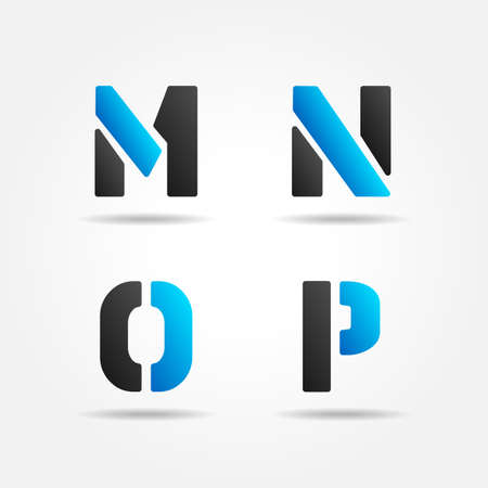 decorative letter: MNOP blue