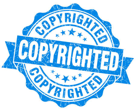 copyrighted: copyrighted blue grunge stamp Stock Photo