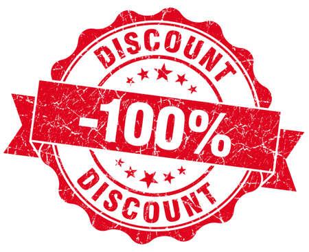 discount 100% red grunge stamp photo