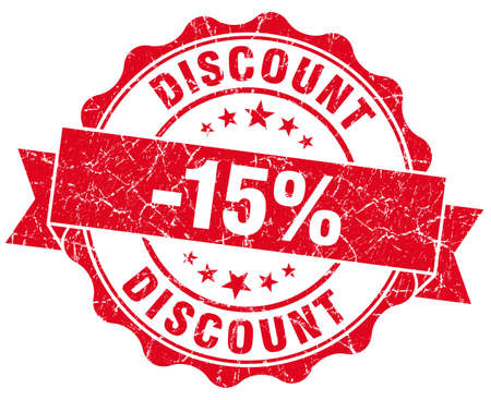 discount 15% red grunge stamp photo