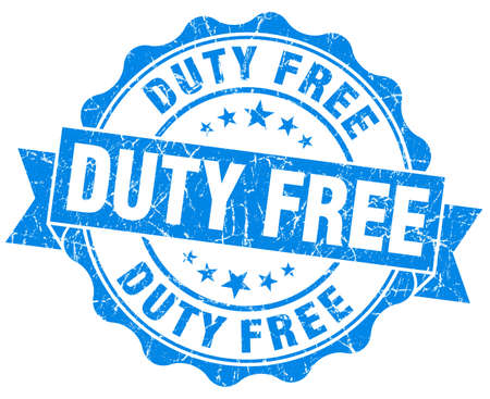 duty free: duty free blue grunge stamp