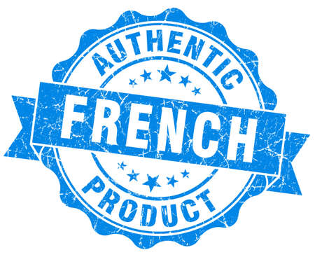 French product blue grunge stamp photo