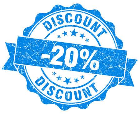 discount 20% blue grunge stamp photo