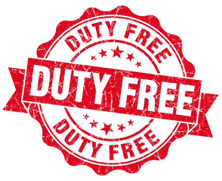 duty free red grunge stamp photo