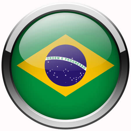 brazil flag gel metal button photo