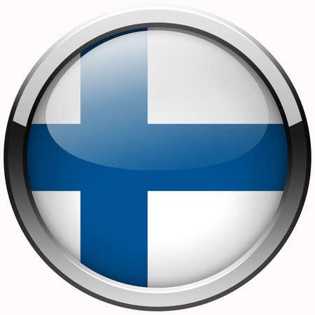 bandera de finlandia: finlandia bot�n de metal gel bandera Foto de archivo