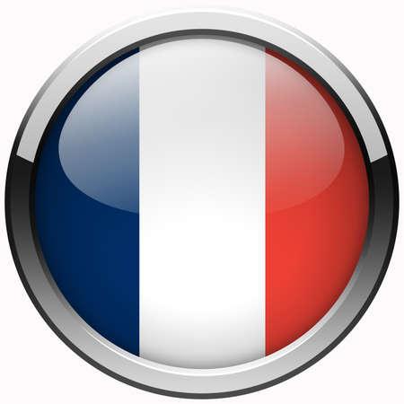 bandera francia: FRANCIA bot�n de metal gel bandera Foto de archivo