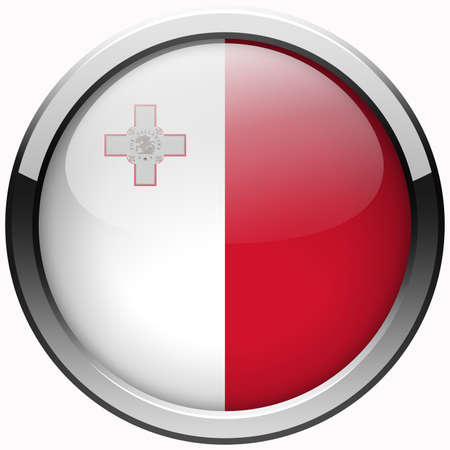malta flag gel metal button photo