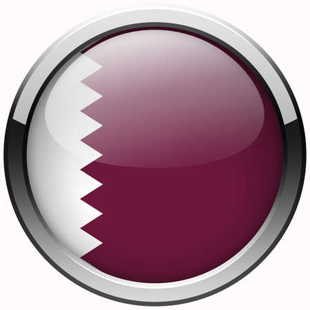 qatar flag gel metal button Stock Photo - 22582421
