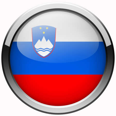 slovenia flag gel metal button photo