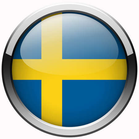 sweden flag gel metal button photo